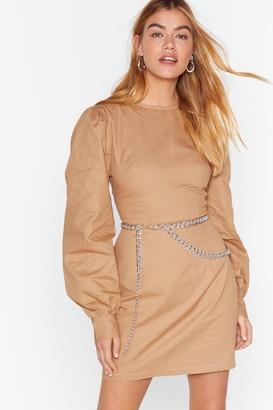 Nasty Gal Womens Puff Up the Jam Balloon Sleeve Mini Dress - Beige - 6, Beige