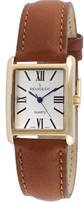 Peugeot Women's 14k Gold Plated Tank Roman Numeral Band Stainless Steel Quartz Watch with Leather-Calfskin Strap
