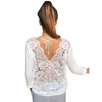 DEELIN Women Long Sleeve Autumn Backless O-Neck Bandage Solid Lace Sexy Loose Sweatshirt Pullover Tops Fashion Blouse Shirt(White UK-14 CN-L)