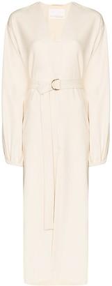 Remain V-Neck Belted Midi Dress