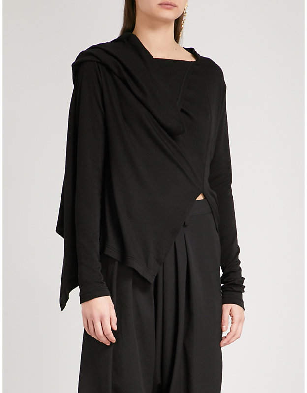 Y's Ys Asymmetric-neck knitted top