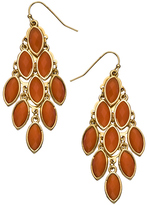 Blu Bijoux Gold and Coral Stone Chandelier Earrings