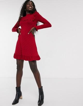 Miss Selfridge swing dress with ruffle hem in red polka dot