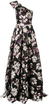 Marchesa floral one-shoulder gown