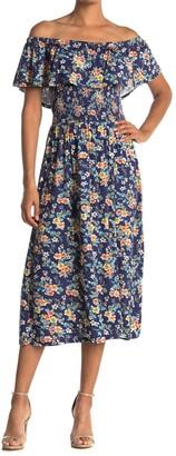 Como Vintage Floral Smocked Waist Dress