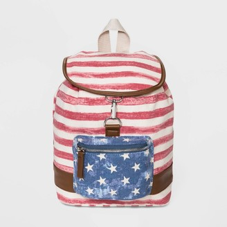 Mad Love Striped Americana Flap Closure Mini Backpack