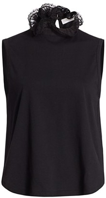 See by Chloe Lace Ruffle Neck Sleeveless T-Shirt