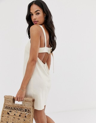 Asos Design DESIGN buckle back mini sundress-Beige