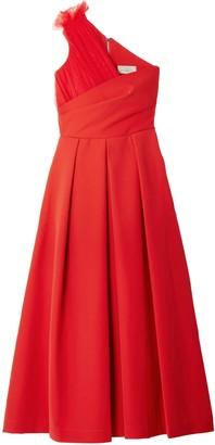 Preen by Thornton Bregazzi One-shoulder Tulle-trimmed Stretch-cady Midi Dress