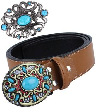 Baosity Leather Bohemian Waist Belt Western Cowboy Belt Buckle Boho Classic Novelty Belt Buckles