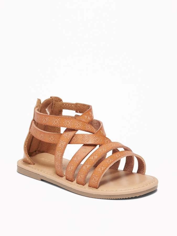 727039820d3c1 Embossed Faux-Leather Gladiator Sandals for Toddler Girls