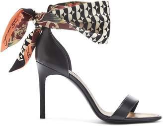Oscar de la Renta Printed Silk and Black Leather Sandal