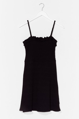 Nasty Gal Womens Frill Detail Rib Casual Jersey Mini Dress - Black