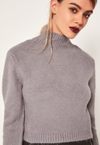 Missguided Grey Turtleneck Fluffy Sweater