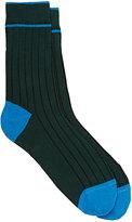 Barneys New York Men's Ribbed Cotton-Blend Mid-Calf Socks-GREEN