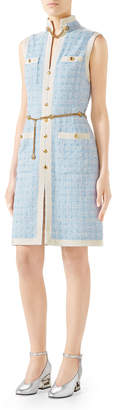 Gucci Sleeveless Short Tweed Dress with Chain Belt