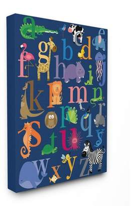 """Icons Stupell Industries Navy Alphabet Animal Oversized Stretched Canvas Wall Art (24""""x30""""x1.5"""")"""
