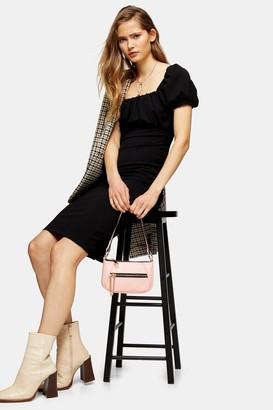 Topshop Black Puff Sleeve Midi Dress
