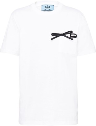 Prada bow-detail cotton T-shirt