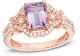 Zales Emerald-Cut Amethyst and Lab-Created White Sapphire Ring in Sterling Silver with 14K Rose Gold Plate