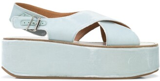 Madison.Maison Crossover Strap Wedge Heel Sandals