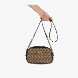 Gucci brown Marmont GG Supreme leather shoulder bag