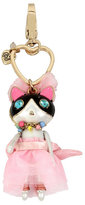 Betsey Johnson Holiday Giving Pink Kitty Keychain
