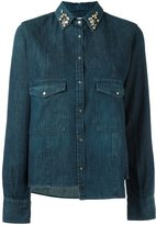 Golden Goose Deluxe Brand embellished collar denim shirt - women - Cotton - M