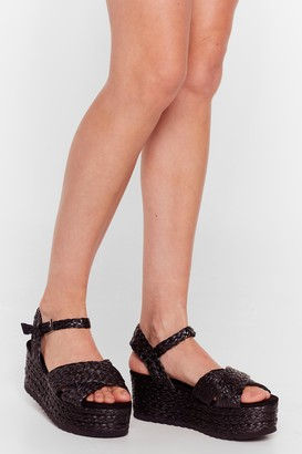 Nasty Gal Womens Platform a Circle Woven Sandals - Black - 6, Black