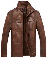 Jinmen 2016 New Men's Grade PU Leather Lamb Wool Fur Coats Warm Outwear Parka
