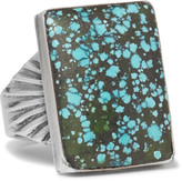 Foundwell - 1980s Silver Turquoise Ring