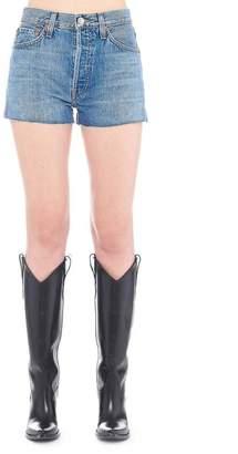 RE/DONE High Waisted Frayed Edges Denim Shorts