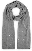 Jimmy Choo EMMA Pearl Grey Blend Cashmere Knitted Scarf with Crystals