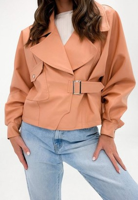 Missguided Camel Faux Leather Balloon Sleeve Oversized Biker Jacket