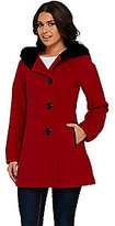 As Is Susan Graver Faux Wool Coat with Velvet Pillow Collar Hood