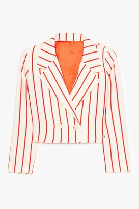 Nasty Gal Womens Personality Stripe Cropped Double Breasted Blazer - White - 6