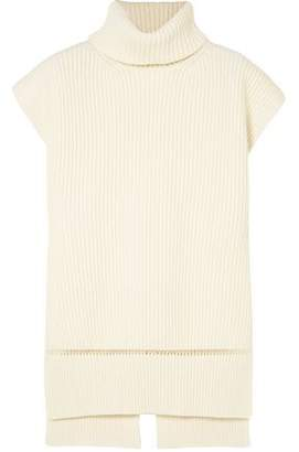 Alexander McQueen Pointelle-trimmed Ribbed Wool And Cashmere-blend Turtleneck Sweater