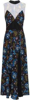 Self-Portrait Lace-paneled Floral-print Crepe De Chine Midi Dress