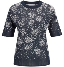 HUGO BOSS Short Sleeved Sweater With Jacquard Knitted Design - Patterned