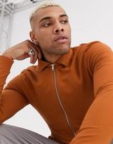 Asos Design DESIGN muscle jersey harrington jacket in brown