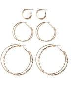 Topshop Set of 3 Two-Row Hoop Earrings