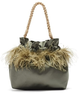 Montunas Ostrich Feather-trimmed Satin Drawstring Pouch - Grey