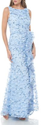 Carmen Marc Valvo Sleeveless 3D Petal Embellished Gown w/ Cascading Ruffle