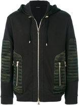 Balmain camouflage panel biker hoodie