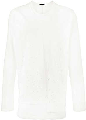 The Viridi-anne Distressed Cotton Long Sleeve T-Shirt