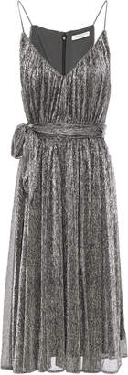 Halston Belted Metallic Textured Knitted Mini Dress