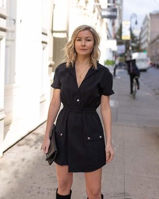 The Drop Women's Black Short-Sleeve Asymmetric Front Utility Dress by @laurie_ferraro XXS