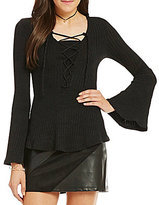 I.N. San Francisco Lace-Up Neckline Long-Bell-Sleeve Top