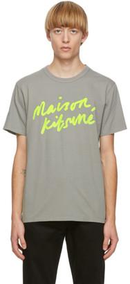 MAISON KITSUNÉ Grey Handwriting T-Shirt