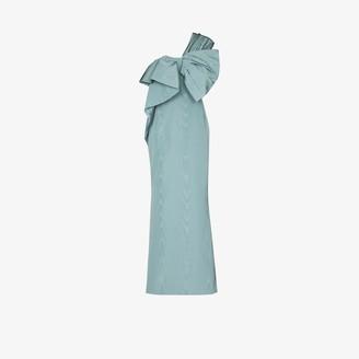 Oscar de la Renta One Shoulder Bow Silk Gown
